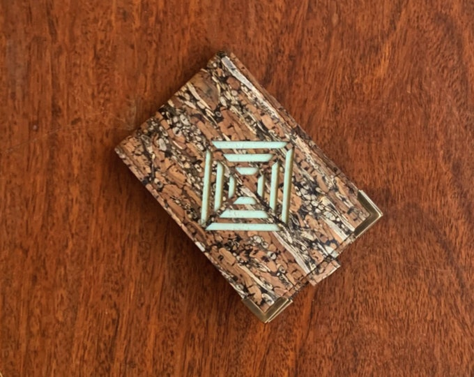 Mini card wallet made from vegan brown cork and fennel fabric/cork leather enhanced with a laser cut diamond design backed in aqua cork