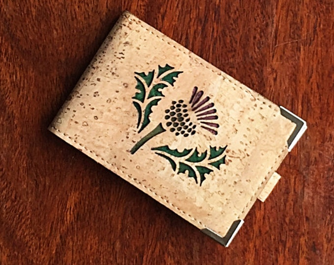 Mini card wallet made from vegan fawn cork leather enhanced with a thistle/Scottish thistle design backed in coloured cork