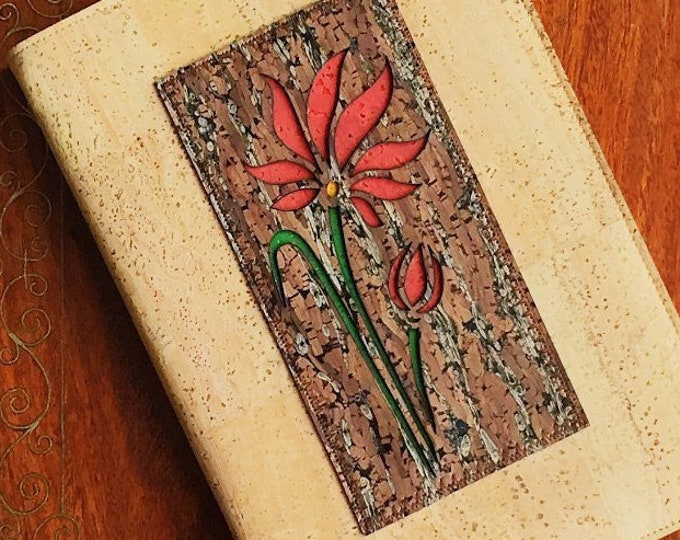 Beige cork leather A5 notebook embellished with a brown cork and fennel appliqué of a tall flower backed in coloured cork - vegan friendly
