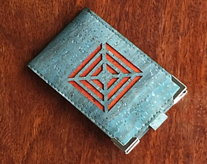 Vegan silver flecked blue cork leather/fabric mini-wallet with with 4 card slots (can be doubled up) and a burnt orange square design