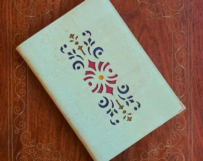 A5 notebook - aqua vegan cork fabric - cork leather - laser cut geometric design backed with coloured cork - cork journal - cork diary