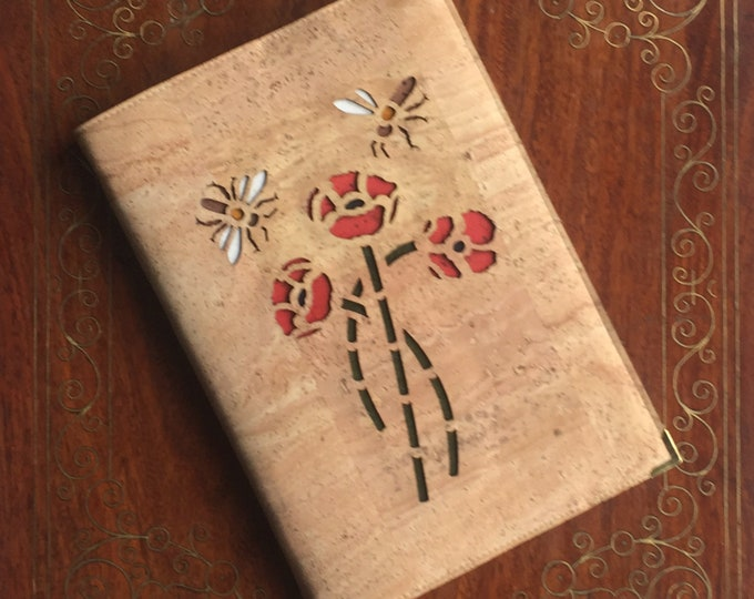 Poppies and bees A5 notebook - journal - diary- beige cork fabric - beige cork leather - eco-friendly cork