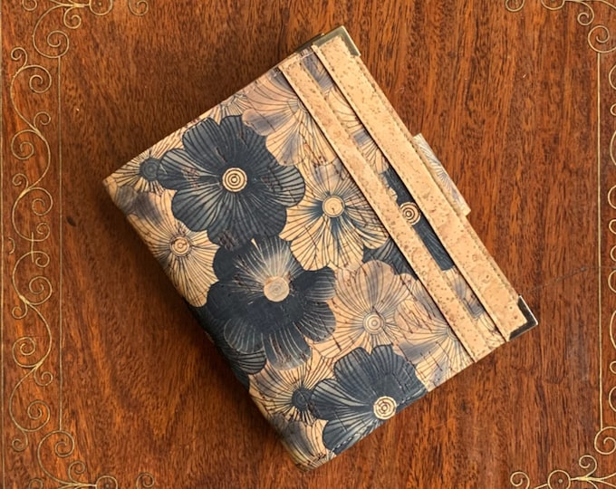 Vegan black flower printed  beige cork fabric travel wallet for passport, travel cards, tickets, boarding passes and cash
