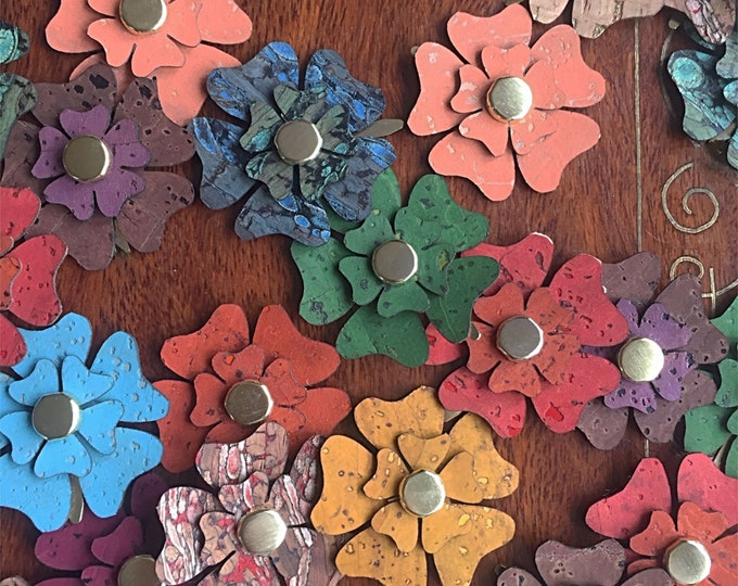 Cork fabric flowers - 10 units - vegan/eco cork leather-scrapbooking - sewing appliqués- card making  -  crafting needs - random colours