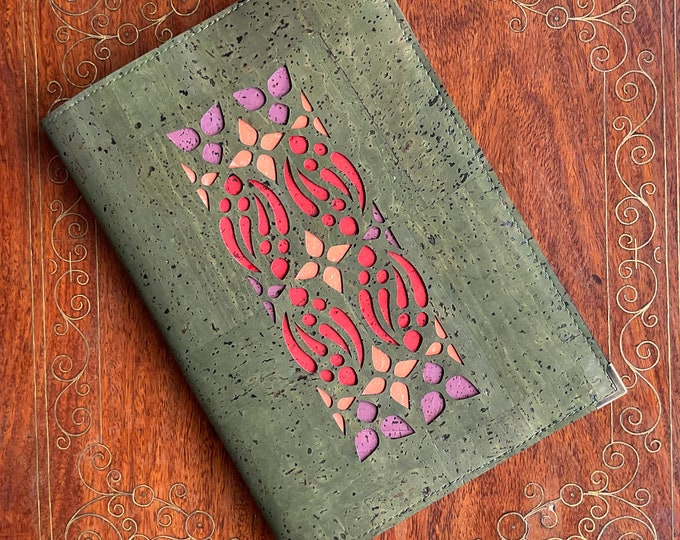 A5 notebook - olive vegan cork fabric - cork leather - laser cut geometric design backed with coloured cork - cork journal - cork diary