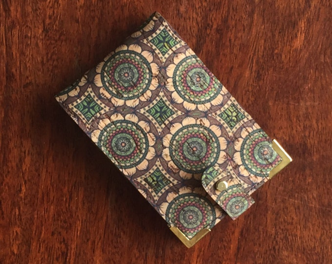 Vegan beige green circles printed cork fabric/cork leather mini-wallet with with 4 card slots (can be doubled up and take 8 cards )