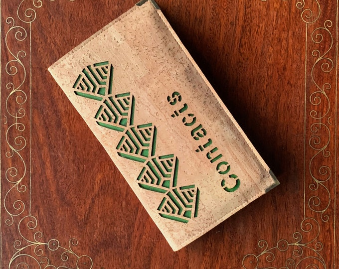 Slim A6 address / contacts / phone book - beige cork fabric - geometric design backed with forest green cork - vegan - eco-friendly