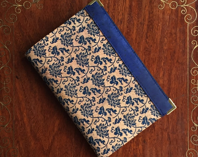Vegan A6 cork fabric/cork leather notebook - beige cork with blue flowers and leaves print - blue band side decoration