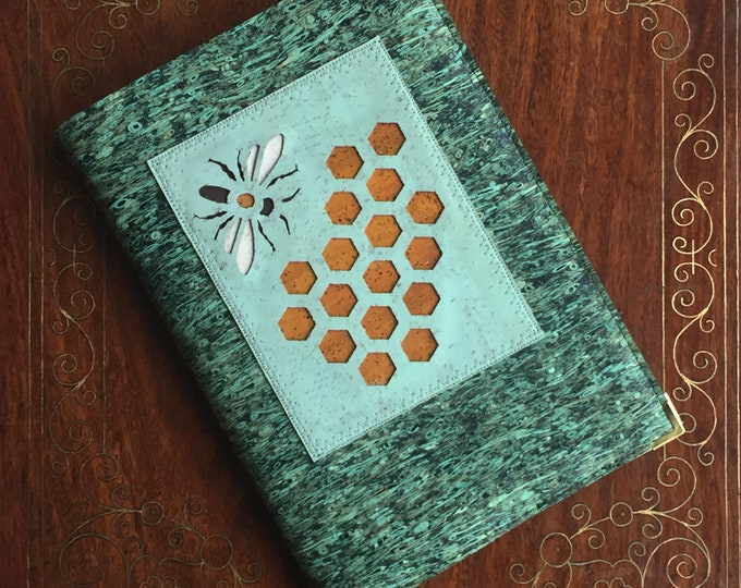 Bee and honeycomb vegan A5 notebook - journal - diary- green straw fabric - eco cork leather - laser cut design backed in coloured cork