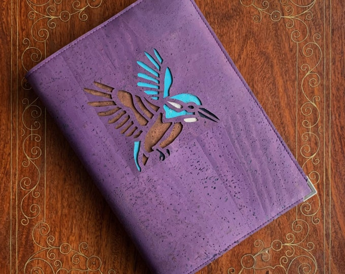 Kingfisher - flying bird  - A5 notebook - vegan purple cork fabric / cork leather - eco friendly  - carbon neutral