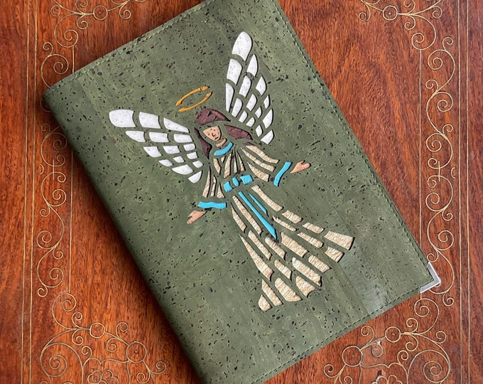 Angel notebook - olive green cork fabric / leather - vegan A5 notebook - journal - diary - eco-friendly cork  - sustainable cork