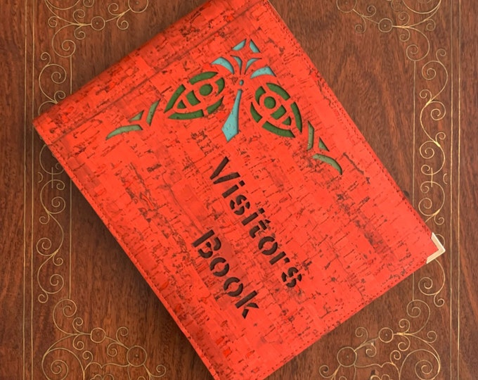 Vegan A5 landscape brick red cork fabric visitors book/ guest book - laser cut geometric corner design backed with coloured cork