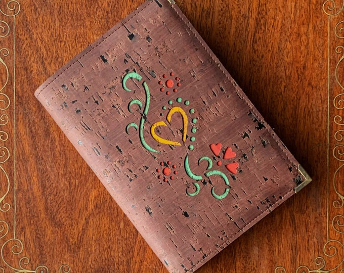 Hearts and tendrils, vegan  A6 notebook covered in chocolate brown cork fabric/cork leather - Valentine's gift - anniversary present