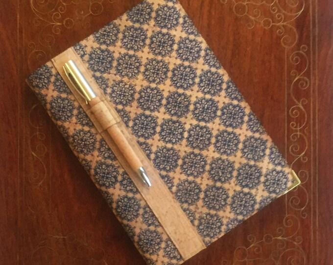 A5 vegan cork fabric notebook with cork pen - printed design of little blue diamonds - cork leather - cork ball point pen