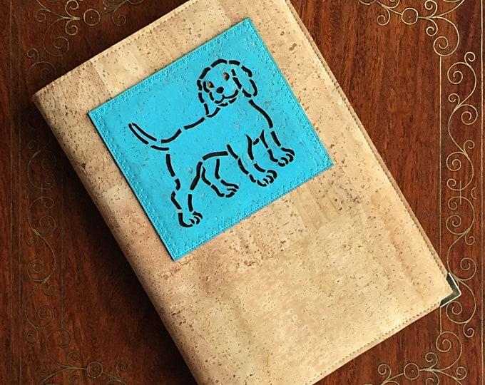 A5 beige vegan cork fabric/ fawn cork leather - notebook -  journal - diary - sky blue appliqué of a spaniel-like dog