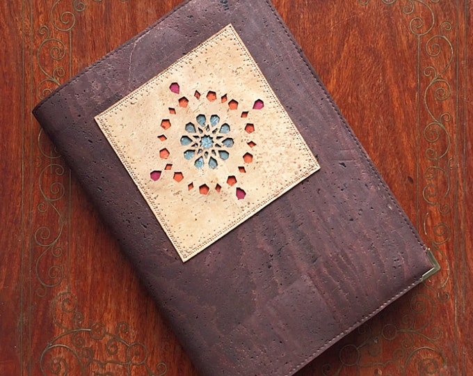 Chocolate brown cork leather/fabric notebook with an appliqué of a geometric design inspired by Islamic architecture - vegan friendly