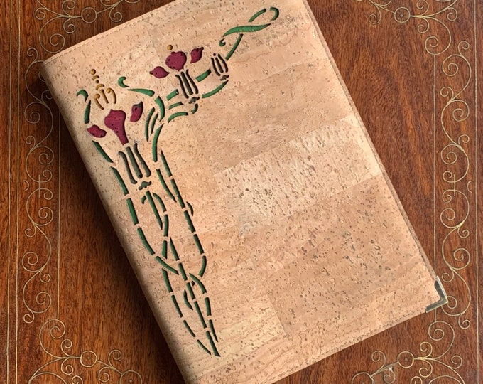 Beige vegan cork fabric A5 notebook - laser cut Art Nouveau style flower backed in red and green cork leathers personalisation possible