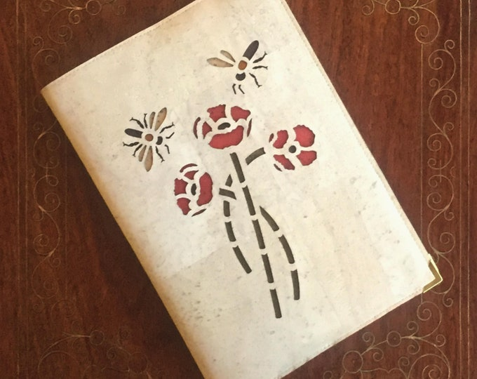 Poppies and bees A5 notebook - journal - diary- white cork fabric - white cork leather - eco-friendly cork