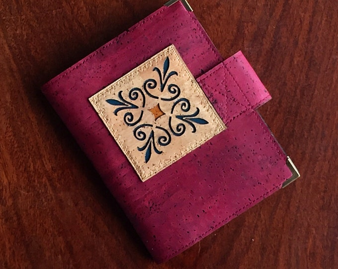 Wine red, vegan, cork leather travel wallet for passport, travel cards, train tickets, boarding passes and cash - beige geometric appliqué