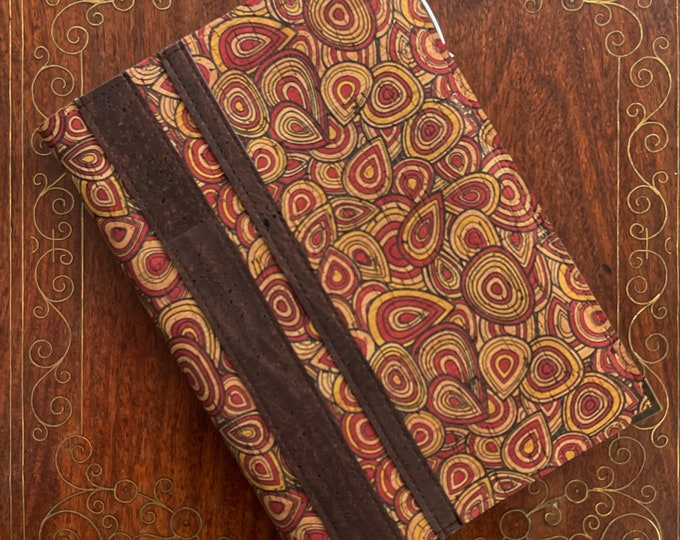A5 vegan cork fabric notebook with cork pen - printed design red a brown tree rings  -  cork leather - cork ball point pen