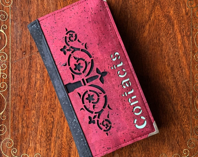 Slim A6 address / contacts / phone book - red cork fabric - geometric design of a decorative hinge backed with black cork- vegan