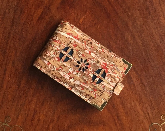 Mini card wallet - vegan eco-friendly red cork and fennel fabric/cork leather- laser cut design backed with black cork