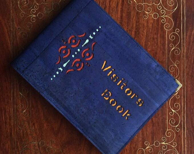 Visitors book- guest book - vegan denim blue cork fabric/cork leather- A 5 landscape  book - laser cut  geometric  design