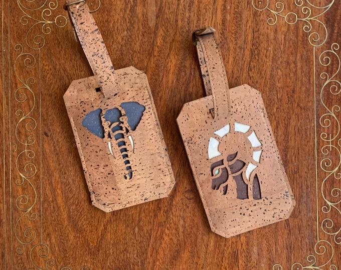 Animal luggage tags - mid brown vegan cork fabric - elephant head label - ibex head label - luxury luggage labels