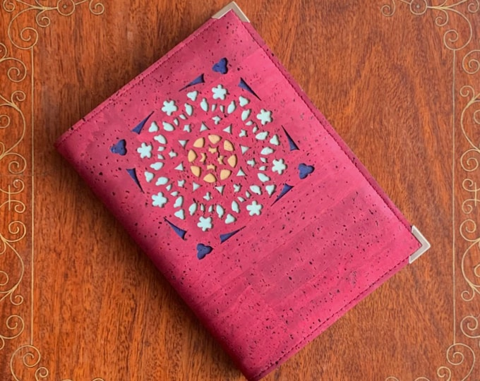 Cherry red, vegan cork fabric/cork leather covered A6 notebook with a geometric laser cut design backed with coloured cork
