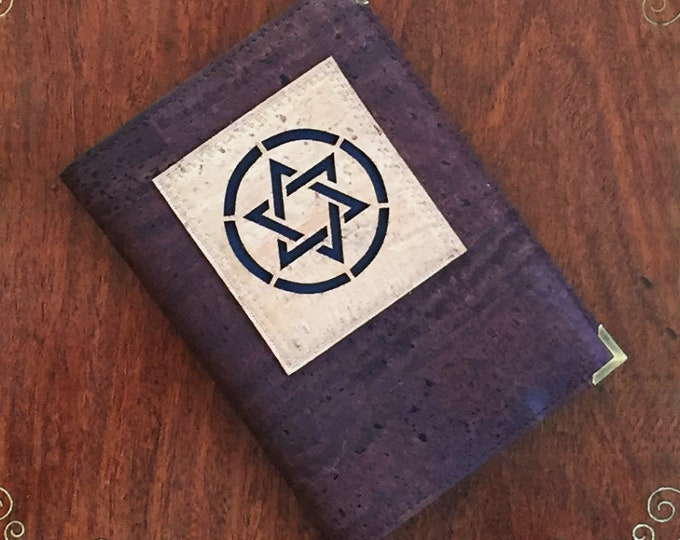 Star of David notebook with a chocolate brown cork leather cover enhanced with a beige appliqué backed with navy cork/ vegan friendly