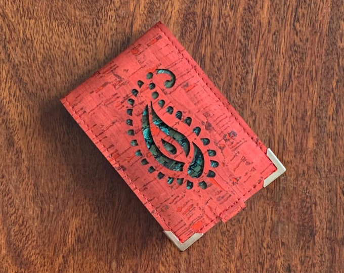 Vegan brick red cork fabric/cork leather mini-wallet with 4 slots (doubled takes 8 or 10 cards) paisley design  backed in coloured cork