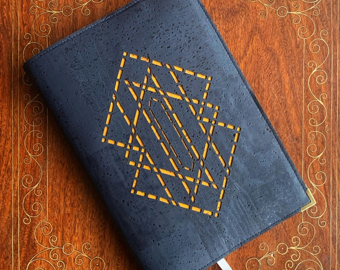 A5 notebook - navy blue vegan cork fabric - cork leather - laser cut geometric design backed with yellow cork - cork journal - cork diary