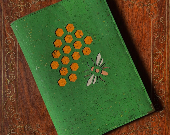 Vegan forest green A5 notebook - eco-friendly cork fabric cover - laser cut bee and honeycomb design backed in coloured cork