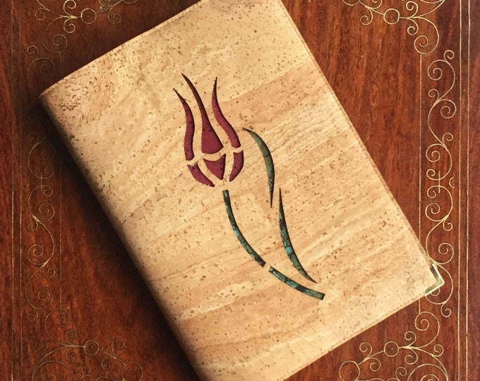 Beige vegan cork fabric A5 notebook - laser cut stylised Turkish tulip backed in red and green cork leathers