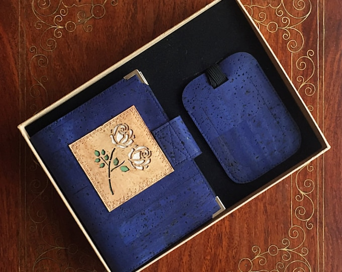 Royal blue cork leather travel wallet for passport, travel cards, train tickets, boarding passes and cash plus luggage tag - vegan friendly