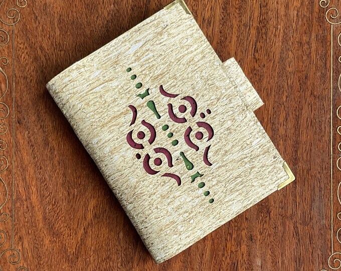 Straw, vegan, cork fabric travel wallet for passport, travel cards, tickets, boarding passes and cash - laser cut geometric design
