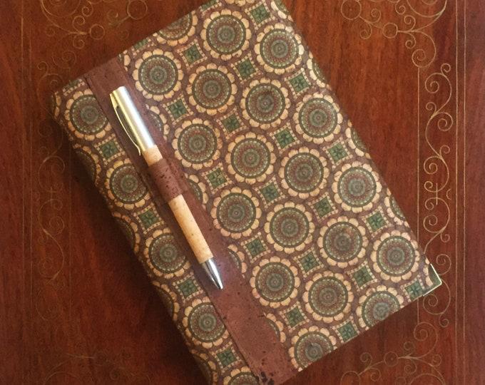 A5 vegan notebook - cork fabric/cork leather - green circles design - cork pen in mid brown holder - eco-friendly carbon neutral cork