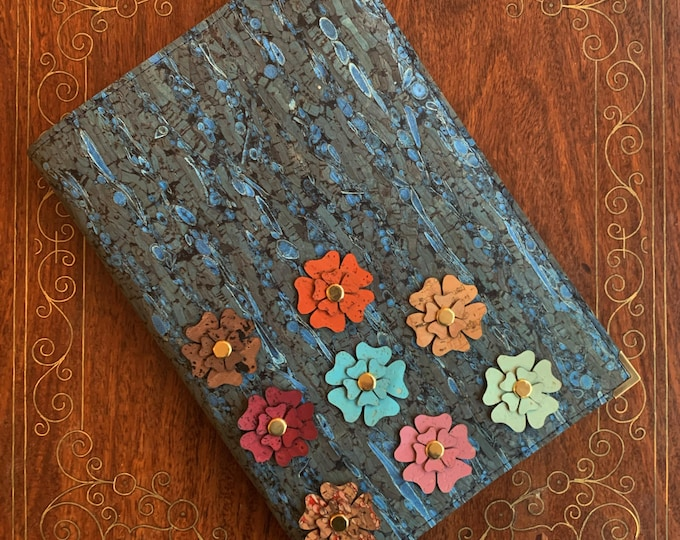Flower garden vegan A5 notebook - journal - blue cork and fennel fabric cover - coloured cork flower appliqués