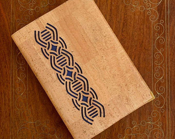A5 notebook -beige vegan cork fabric - cork leather - laser cut geometric design backed in dark blue cork - cork journal - cork diary