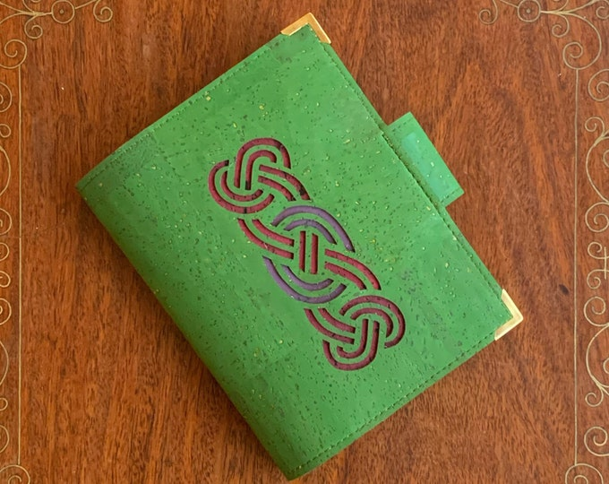 Forest green, vegan, cork fabric travel wallet for passport, travel cards, tickets, boarding passes and cash - laser cut geometric design