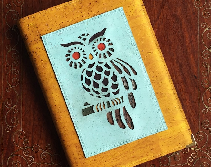 A5  mustard yellow cork leather notebook enhanced with a laser cut appliqué of an owl backed with coloured cork - vegan friendly
