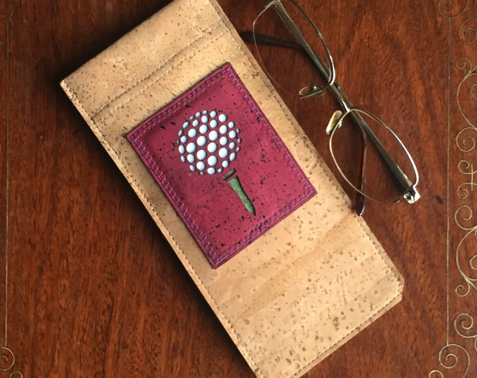 Beige vegan cork fabric - cork leather - glasses/spectacles case -red appliqué with a golf ball on a tee - flexible spring closure