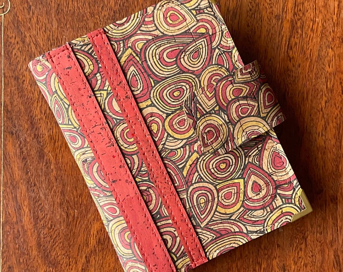 Red tree rings printed beige cork fabric travel wallet for passport, travel cards, tickets, boarding passes and cash