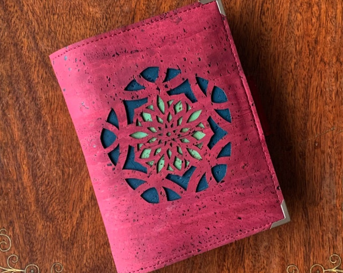 Wine red,  vegan, cork fabric travel wallet for passport, travel cards, tickets, boarding passes and cash - laser cut pentagon design