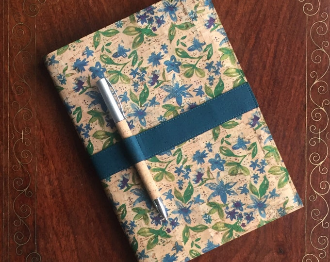 A5 vegan cork fabric notebook with cork pen - printed design of little blue flowers and green leaves  - cork leather - cork ball point pen