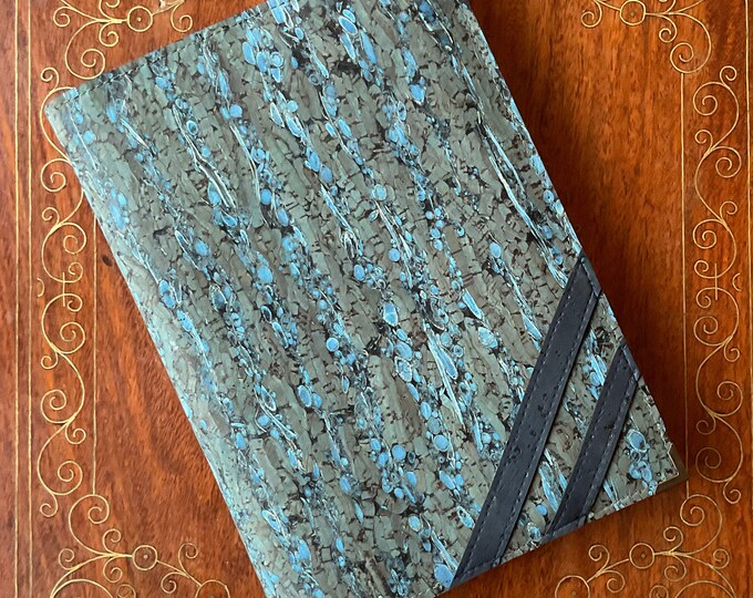 A5 vegan blue cork and fennel note book with cork ballpoint pen