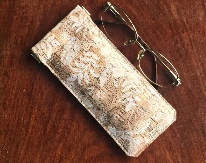 Glasses case - beige cork fabric with white flowers and leaves and circles of silver dots - spectacles case  - flexible spring closure