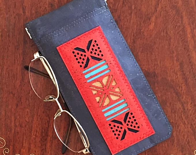 Charcoal grey cork leather/cork fabric spectacles/glasses case with a red geometric appliqué and a squeezy spring closure - vegan case
