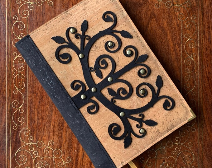 A5 notebook - beige cork fabric - cork leather -  black laser cut design inspired by a wrought iron hinge with gold rivets - cork journal