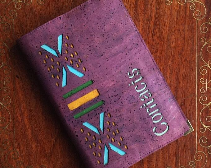 Vegan purple cork leather - cork fabric  - midi address book - contacts book  - geometric design inspired by African cloth